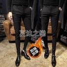 加厚小腳西褲男潮發型師韓版修身緊身夜場休閒褲子