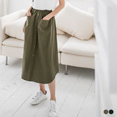 OB嚴選《CA683-》純色棉麻面料排釦造型A字裙.2色--適 S~XL