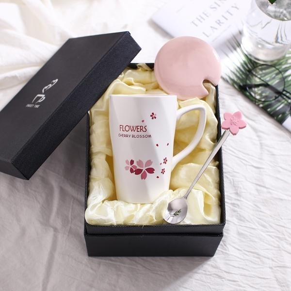 禮盒裝可愛陶瓷杯馬克杯女生喝水杯帶蓋勺櫻花牛奶杯咖啡杯情侶禮盒套裝 快速出貨