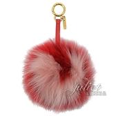 茱麗葉精品【全新現貨】FENDI 7AR469 金屬環愛心造型毛球造型鑰匙圈.紅