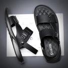 开车穿的凉鞋 涼鞋男夏季新款潮開車高級沙灘休閒軟底外穿兩用男士皮涼拖鞋