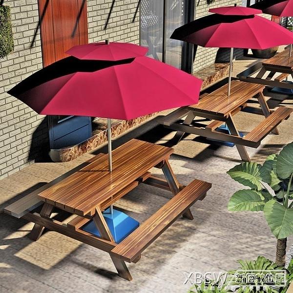露天戶外桌椅防腐實木帶傘室外庭院休閒餐桌椅組合公園咖啡奶茶店CY『新佰數位屋』