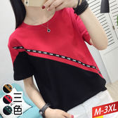 CARRE斜邊緞拼色T恤(3色)M~3XL【871524W】【現+預】☆流行前線☆
