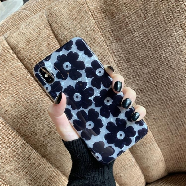 韓風ins黑色花朵貝殼紋蘋果11pro max手機殼iPhone7/8plus/xs/xr簡約iPhone6s個性防摔硅膠軟
