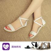 歐美雜誌款極簡一字交叉設計低跟涼鞋/3色/35-43碼 (RX1682-010-23) iRurus 路絲時尚