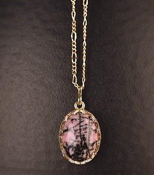 [協貿國際]天然薔薇輝石鑲嵌橢圓形吊墜鍍24K金鍊單條價