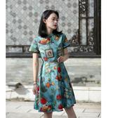 旗袍 自制旗袍 新款夏季改良日常短款 復古旗袍裙a字連衣裙少女