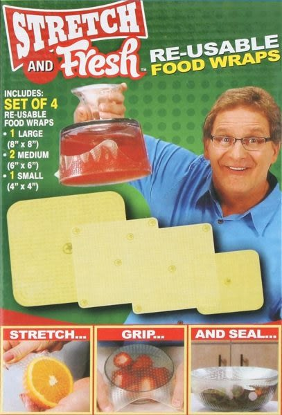 美國熱銷stretch and fresh同款 彈性環保矽膠保鮮膜 可重複使用 (4入一組)