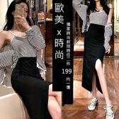 克妹Ke-Mei【AT54171】獨家,歐美單!不規則性感開叉腰鬆緊修身長裙