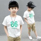 男童套裝夏裝2018新款中大童休閒短袖運動服薄款兒童兩件套潮 QG24187『Bad boy時尚』