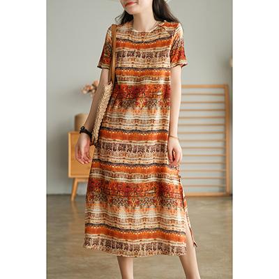 棉麻復古彩條連身裙 圓領下擺開叉短袖洋裝/2色-夢想家-0712