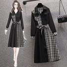 大碼長袖洋裝 禮服 連身裙L-4XL18363胖mm時尚不對稱拼結收腰顯瘦長袖連身裙4F093 胖妞衣櫥
