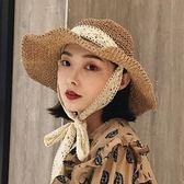 帽子女日系百搭可折疊草帽蕾絲海邊遮陽沙灘【聚寶屋】