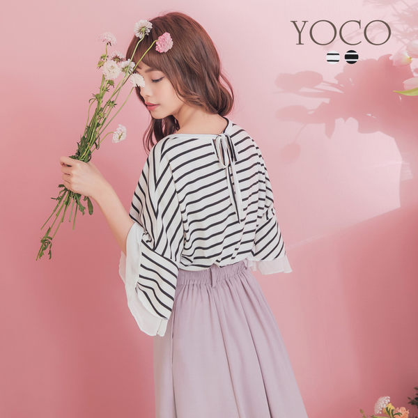 東京著衣【YOCO】百搭棉料後綁結橫紋荷葉雪紡袖上衣-S.M.L(190300)