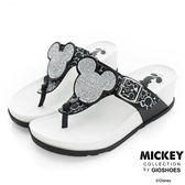 DISNEY 慵懶時尚 閃亮米奇頭夾腳楔型拖鞋-黑(女)