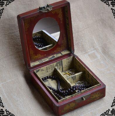 仿古皮盒懷舊鏡盒復古梳妝箱仿古首飾盒婚慶禮品橢圓款女士化妝盒