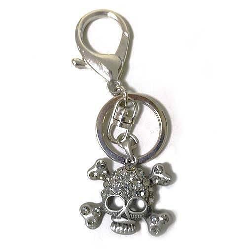 流行龐克風水鑽骷髏頭包包掛飾鑰匙圈