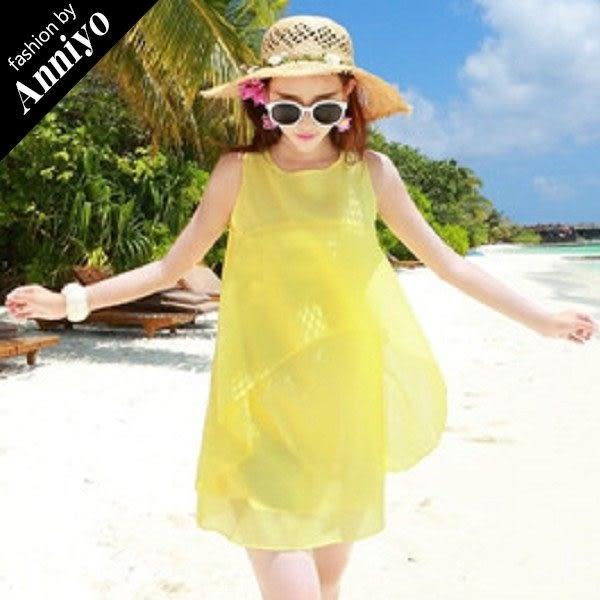 Anniyo安妞‧氣質純色歐根紗娃娃裝海邊度假沙灘裙波希米亞修身顯瘦無袖連衣裙洋裝 黃色