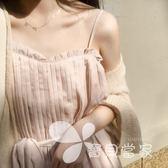 2018新款女夏季顯瘦仙女壓褶腰帶連身裙小清新時尚吊帶韓版中長裙