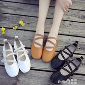 豆豆鞋女2019春季新款學生平底單鞋交叉綁帶小皮鞋淺口奶奶鞋百搭  【PINK Q】