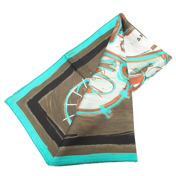 HERMES 愛馬仕 綠松石藍X青銅棕色絲質大方巾 NEW SPRINGS SCARF 90*90