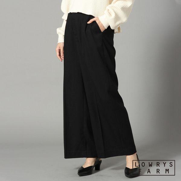 LOWRYS FARM素色格紋打褶寬褲長褲-三色