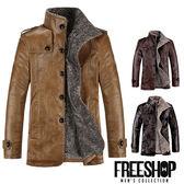 [現貨]【QZZZ953】美式皮質拼接內裏加絨保暖立領鈕扣騎士外套皮衣外套 三色 有大尺碼