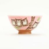 日本美濃燒飯碗M 森林貓頭鷹 紅