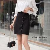 A字裙--優雅時尚個性串繩金屬圓孔拚接A字修身黑色半身A字裙(黑XL-5L)-Q96眼圈熊中大尺碼