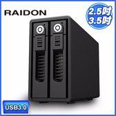 [富廉網] RAIDON 銳銨 GR3660-B3 USB3.0 2bay 3.5吋磁碟陣列設備(和順電通)