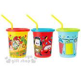〔小禮堂〕皮克斯日製塑膠杯《3 入黃藍紅玩具總動員cars 怪獸大學320ml 》附蓋吸管4973307 37955