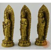 雙十二狂歡購開光純銅西方三圣銅佛像擺件阿彌陀佛觀音菩薩大勢至菩薩供奉