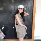 韓版原宿風學生無袖T恤女睡衣籃球服中長款寬松體恤印花背心上衣