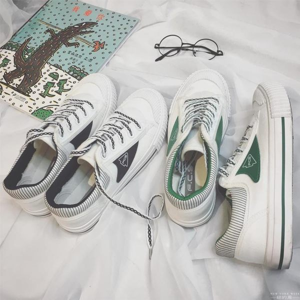帆布鞋 韓國 男女 低幫小白鞋韓版