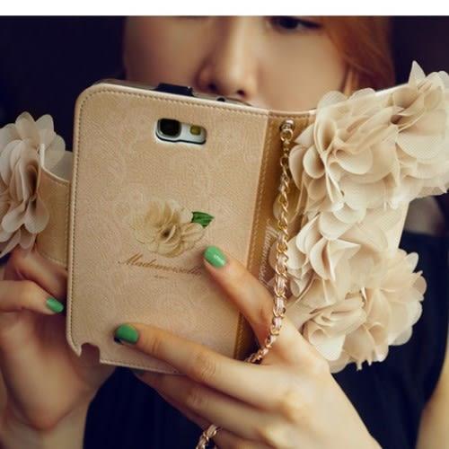 【培菓平價寵物網】iPhone 6 6S 5 5S 浪漫立體雪紡花手機套機殼【含掛包鏈條】