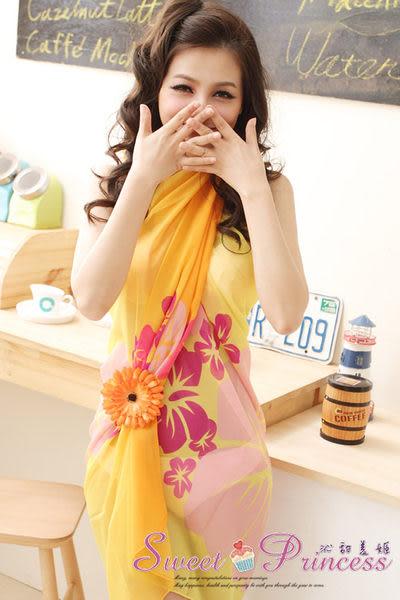 泳衣配件  扶桑花雪紡沙龍圍紗裙 - 繽紛夏艷(黃扶桑花) -沁甜美姬
