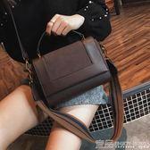手提包ins包包女新款時尚歐美復古磨砂簡約百搭大氣手提單肩斜挎包 99免運