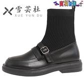 踝靴 法式短靴女夏季薄款瘦瘦馬丁靴子2021年新款襪子小皮鞋中筒連襪靴【秋冬大上新】