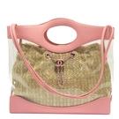 CHANEL 香奈兒 春夏版Chanel 31 粉紅色牛皮透明PVC仿稻草編織內袋 Bag 【BRAND OFF】