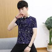 男短袖POLO衫 韓版潮流百搭時尚印花翻領男裝上衣《印象精品》t698