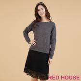 RED HOUSE-蕾赫斯-蕾絲拼接針織洋裝(灰色)