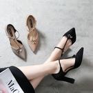 高跟涼鞋 歐美春季新款粗跟尖頭涼鞋高跟鞋女鞋單鞋女鞋《小師妹》sm2106