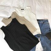 現貨出清韓版新款針織背心外穿女無袖上衣彈力百搭圓領打底衫t恤    俏女孩6-6