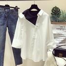 春季新款韓範寬鬆百搭長袖露肩上衣不規則拼接假兩件白襯衫女學生 店慶降價