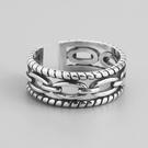 《 QBOX 》FASHION 飾品【RF160】精緻個性復古雙層鏈條設計S925純銀/泰銀開口戒指