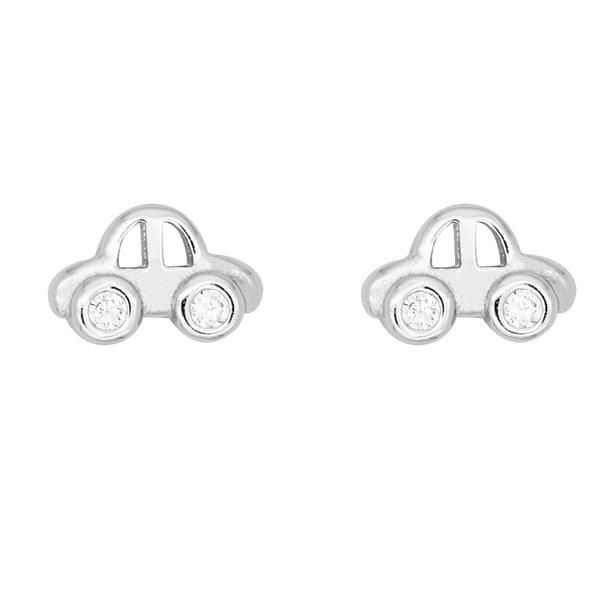 925純銀 迷你小汽車 天然白水晶 耳環耳釘針-銀 防抗過敏