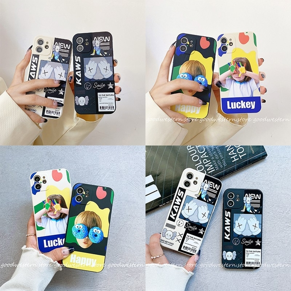 側邊潮牌情侶卡通 iphone 12 11 Pro Xs Max XR SE i8 i7 i6sPlus 全包邊防摔手機殼套