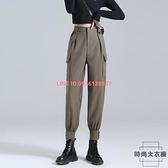 工裝褲女顯瘦高腰小個子秋季褲子束腳春秋寬鬆西裝休閒褲【時尚大衣櫥】