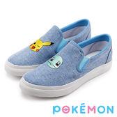 Pokémon 寶可夢不對稱電繡休閒懶人鞋-藍色