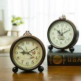 復古創意鬧鐘靜音學生床頭鐘歐式臥室鐘錶擺件小鬧鐘金屬座鐘臺鐘